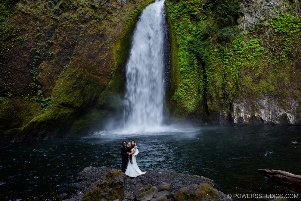 Destination Elopement in Oneonta Gorge Triple Falls